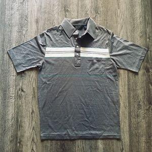 VTG Knightsbridge Gray White Turquoise Polo Shirt